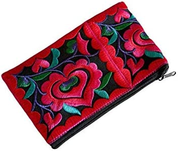 Mini Flowers Wristlet Wallet for Women - Small Handmade Hmong Purse Pouch