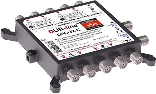DUR-line DPC-32 K - Unicable I+II- Multischalter für 32 Teilnehmer (programmierbar) - 1 Satellit + Terr. – Einkabellösung, Mit Netzteil