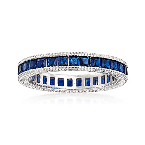 Ross-Simons 1.50 ct. t.w. Simulated Sapphire Eternity Band in Sterling Silver. Size 7