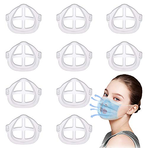 3D Bracket Support Frame Lipstick Protection Stand, Face Inner Support Frame for Comfortable Breathing,Washable,Reusable (10 Pack)