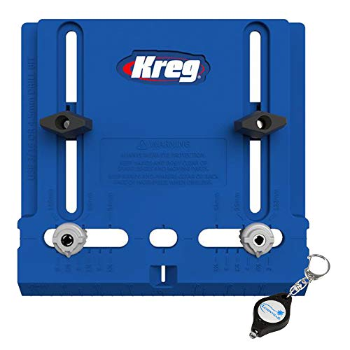 Kreg Tools Cabinet Hardware Jig, KHI-PULL, for Knobs and Pulls with a Lumintrail Keychain Light