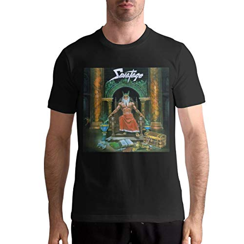 Savatage Casual Mans Tops Short Sleeve Pattern T-Shirt XL Black
