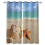 SONYUN Cortinas opacas para interiores, 200 x 160 cm, con estampado de cocio de estrellas de mar en la playa, océano, 3D, cortinas opacas, térmicas, aislantes, para puertas y ventanas