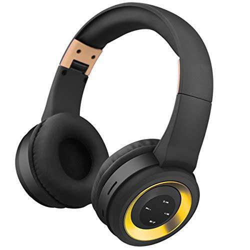 Leyeet Auriculares inalámbricos BT con cancelación de ruido sobre el oído auricular Bluetooth con micrófono para juegos de viaje a casa