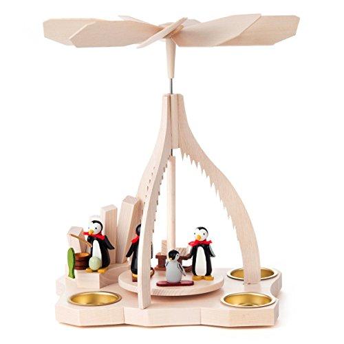 Dregano Winter Fishing Penguins Tea Light German Christmas Pyramid - 10 Inches Tall - German Made