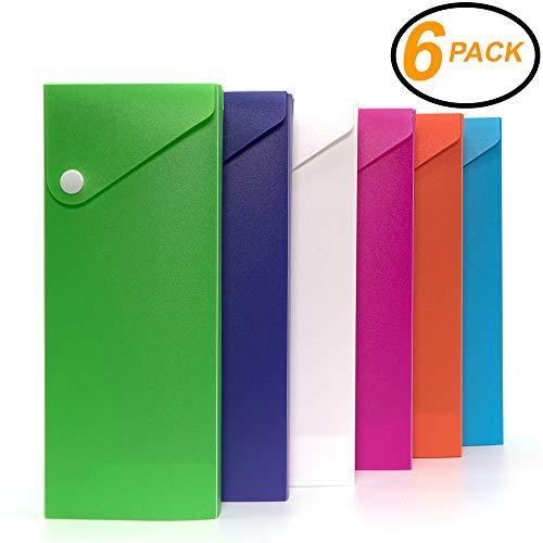 Emraw Bright Color Slider Pencil Case - Pencil case Slider Pencil case for Color Pencils, Durable Slider Pencil Case Color Pencils Box & Pencil case snap Close (6-Pack)
