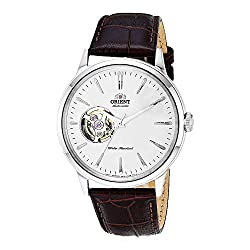 Orient 'Bambino Open Heart' Japanese Automatic Stainless Steel and Leather Dress Watch - best skeleton dress watch under 200 dollars