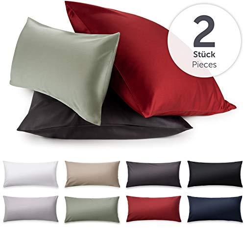 Blumtal 2er-Set Mako Satin Kissenbezug 40x60 cm - 100% Baumwolle, Superweicher Kopfkissenbezug 40x60, Kissenhülle, Anthracite