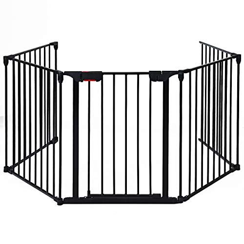 CASART 5 Panel Baby Safety Gate, Kids Toddlers Dogs Stair Safety Fence Playpen with Safety Pin, Adjustable Metal Room Divider Fireplace Guard