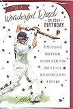 Tarjeta de felicitación de cumpleaños para padre con texto en inglés'Prelude Dad', para un padre maravilloso en tu cumpleaños, diseño de críquet deportivo, tamaño mediano, 23 cm x 16 cm