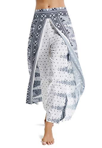 Pantalones de Yoga Mujer Harem Boho del Lazo del Pavo Real Flaral Funky Blanco & Negro S