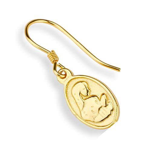 「silverKYASYA」ゴールド ピアス コイン 聖母マリア ピアス 金 メダイ フェザー ドロップ ゴールドコイン ピアス 2タイプ 片耳 (A-タイプ)