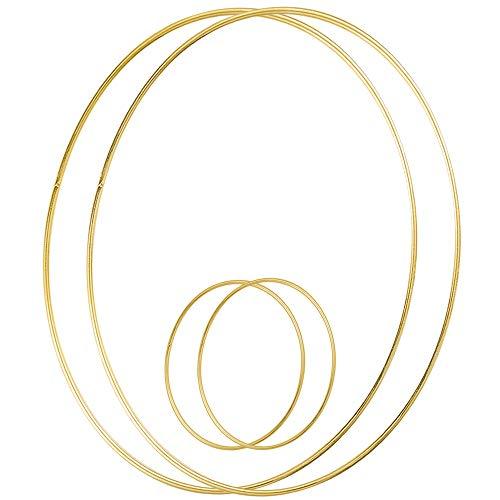 Sntieecr 4 Stück (15 & 35 cm) Metall Floral Hoop Kranz Makramee Gold Craft Hoop Ringe für DIY Hochzeit Kranz Dekor, Traumfänger und Makramee Wand hängende Handwerk
