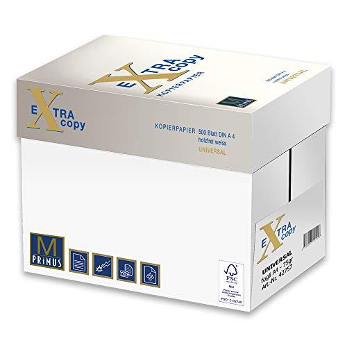 Primus Extra Copy 75gr Carta A4 per fotocopiatrici e stampanti 75gr mq, Formato A4, confezione da 5 Risme