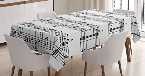 ABAKUHAUS Musica Tovaglia, Note sul Clef, Rettangolare per Sala da Pranzo e Cucina, 140 cm x 200 cm, Bianco e Nero