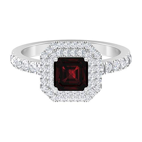 6 MM Asscher Cut Garnet Ring, D-VSSI Moissanite Double Halo Ring, Solitaire Ring With Side Stones (AAA Quality), 14K White Gold, Size:UK T1/2