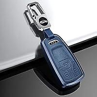 ontto アウディ スマート キーケース キーカバー キーホルダー オシャレ 高級 傷防止 落ちにく 指紋防止 Audi Q7 A4 A5 F5 Q5 RS4 TT TTS R8等に適用 リモコンケース 車用 ネジなし 取付簡単 アルミニウム合金 革 保護 カバー ブルー
