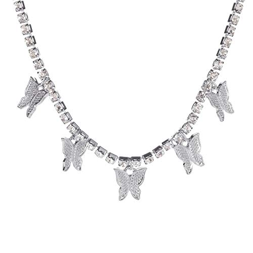 HINK Fashion Butterfly Pendant Necklace Rhinestone Sweater Chain Women Crystal Choker B