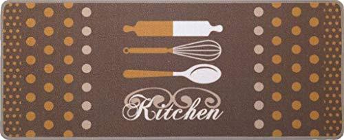oKu-Tex Felpudo atrapasuciedad Cocina Cocina Camino de Cocina DecoFlair Kitchen Polkadots marrón 45 x 75 cm Antideslizante y Lavable
