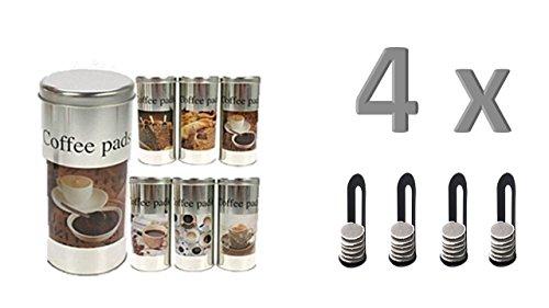 James Premium Kaffee- und Kaffeepads-Dose, Farbig Sortiert Alle 4 mit Padheber