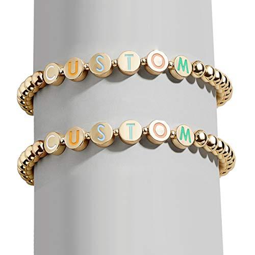 FERIER Personalized Bracelets for Women, Name Custom Beads Bracelets Friendship Couple Customize Jewelry-Set for 1/2/3/4/5 Disc Pisa Bracelets for Girls Mom Daughter Gift