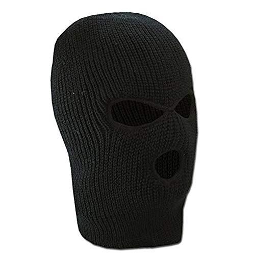 3 Hole Knit Mask Knit Caps al aire libre cubierta de la cara completa Warm Ski Head Hood sombrero cara Shield Beanie pasamontañas para hombres mujeres (negro)