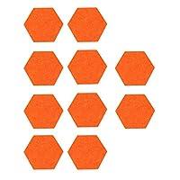 EXCEART 10本フェルトメモボードタイル六角形メッセージボードミニ壁掲示板壁用ホームスクール寮オフィスデコレーション(オレンジ)
