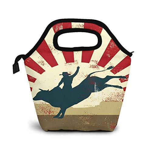 Bolsa Térmica Comida Bolsas De Almuerzo para Mujeres Hombres Niñas Niños Bolsa Isotérmica De Almuerzo Jinete Red Cowboy Rodeo Bull
