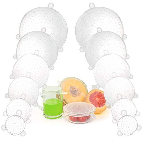 Dehnbare Silikondeckel,12 Teiliges Silikon Stretch Deckel, BPA Free Wiederverwendbare Silikon Frischhalte Abdeckung für GläSer, Universal Silikon-Frischhalte-Deckel für SchüSseln, TöPfe, GläSer, Dosen