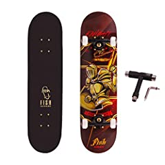 SUITABLE FOR ALL LEVEL SKATERS: 31 x 8 inch full size double kick concave design with vintage pattern provides better control and easy to brake; this Skateboard is ideal for Beginner and Pro doing some basic stunts and other tricks. DURABLE & STABLE:...