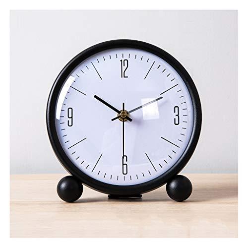 Reloj de mesa Tabla pequeña Reloj Metal Pintura Sala de estar Decoración Mesa Reloj relojes y relojes Adornos Desktop Desktop Small Table Reloj Blanco y negro Reloj de decoración de interiors