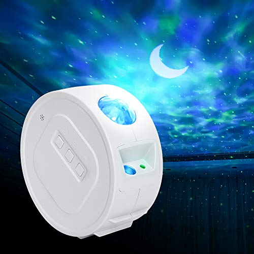 Arzopa Lámpara Proyector LED de Cielo Estrellas, Luz de Noche 6 Efectos de Iluminación, Luz de Proyector Océano y Estrellas con Sonido Activado Luz de Noche para Niños, cumpleaños, Navidad