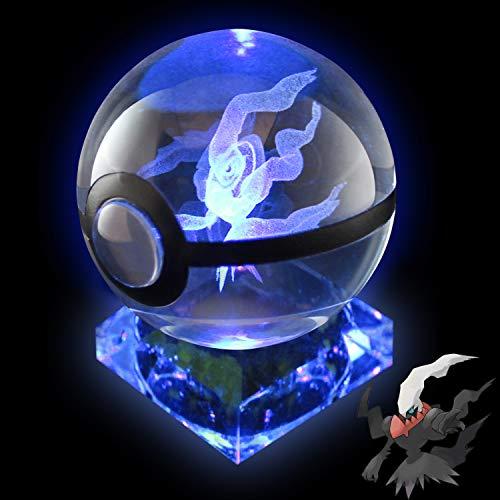 Pokemon Night Light 3D Crystal Ball LED Large 80MM Laser Engraving with Crystal Base Christmas Children's Gift (Darkrai)