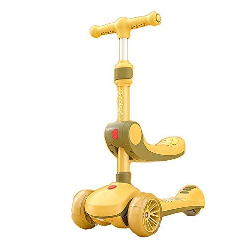 LABYSJ Shining Baby Patinete De Altura Ajustable, 2-In-1 Can Sit/Ride Slide Scooter, Scooter Plegable para Niños con 3 Ruedas, Niños Y Niñas Mayores De 3 Años,Amarillo