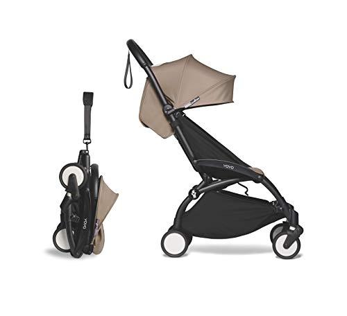 Babyzen YOYO2 Stroller - Black Frame with Taupe Seat Cushion & Canopy