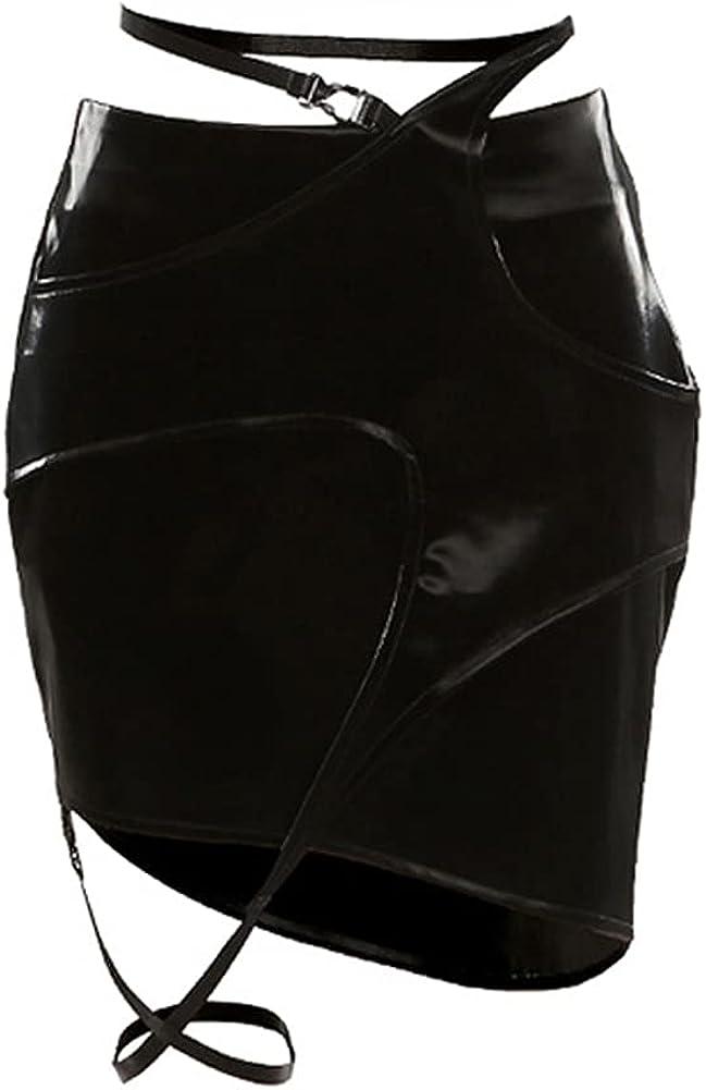 Crubelon Women's Leather Skirt, Hip High Waisted Zipper Mini Short Skirt