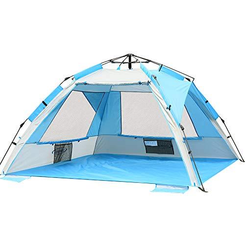 ZOMAKE Tienda de Campaña Emergente en la Playa - Refugio Instantáneo de Sol Cabaña, Sombra de Playa Portátil con SPF 50+ Protección UV para Niños Familia(Azul Plateado)