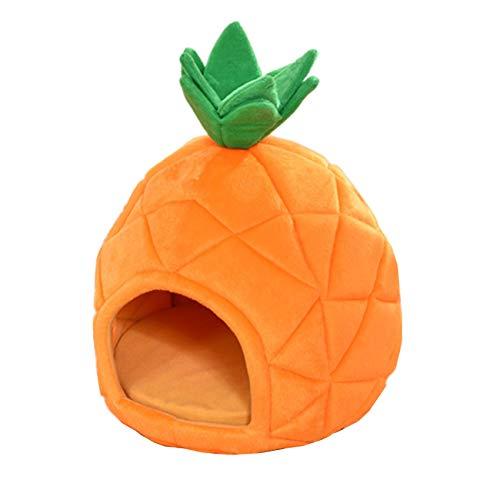 zhxinashu Welpen Hunde Haustier Katzenhaus Weiches Ananas Hundehütte Form Höhlen Schlaf Bett(Orange/L 43 * 43 * 50)