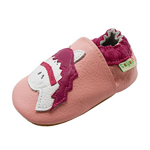 SAYOYO Baby Horse Soft Sole Pink Leather Infant and Toddler Shoes 0-6Months