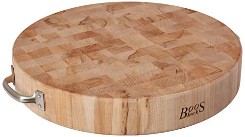 John Boos Block CCB183-R-H Maple Wood End Grain Round Cutting Board with Stainless Steel Handles, 18...