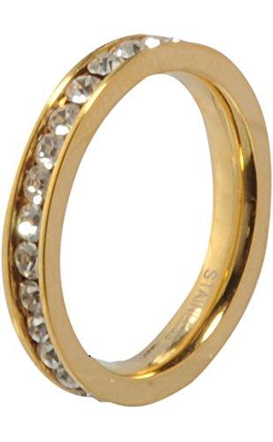 MelanO Ring/Vorsteckring/Beisteckring Edelstahl Farbe Gold mit Zirkonia in kristall M01R 4993 (62 (19.7))
