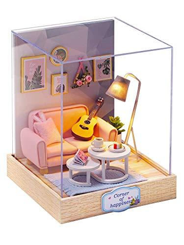 CuteBee DIY木製ドールハウス、 AFTERNMOON TEA TIME 、ミニチュアコレクション、LEDライト、プレゼント、電池AAA*2必要 (QT025)