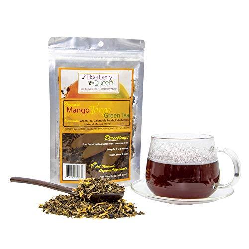 Decaf Mango Loose Leaf Green Tea, Pure Natural Herbal Tea Blend with Elderberry and Calendula (2 ounce)