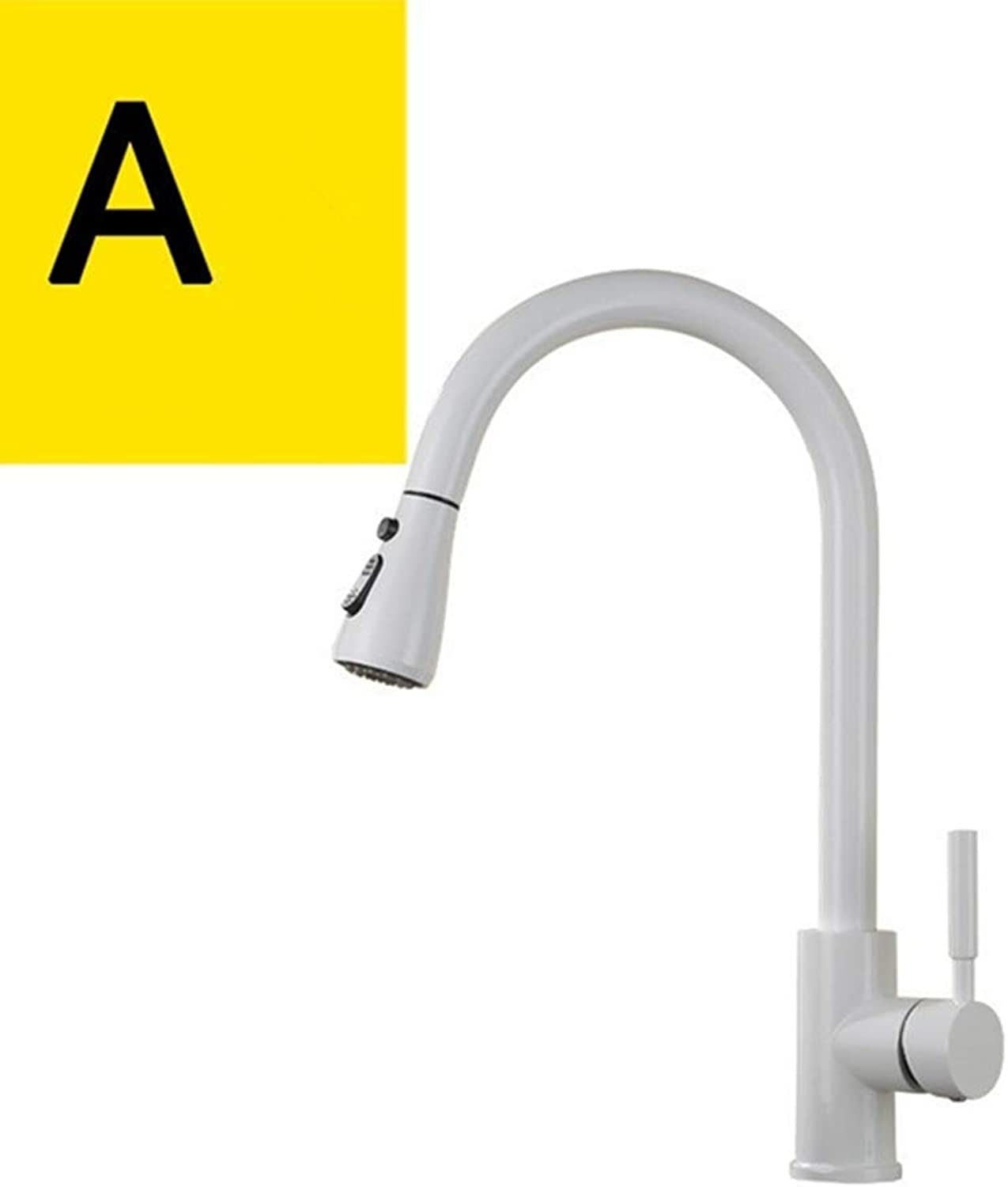 FZHLR Sink Faucet Kitchen White Finished Brass Kitchen Basin Faucet Pull Out Spring Spout Mixer Tap Single Handle Hot Cold Swivel Tap,B