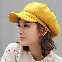 Gang-LL 帽子 COKK秋冬帽子女性ソリッド平野八角形のキャスケット帽男性レディースカジュアルウールハット冬のベレー帽の女性画家キャップについて (Color : Yellow)