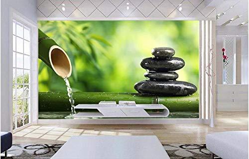 xczxc Papel pintado mural 3D Bambú verde piedra tejido no tejido Papel pintado Sala Living Dormitorio Despacho Decoración de Pared moderna Moda Murales 400 X 280 cm