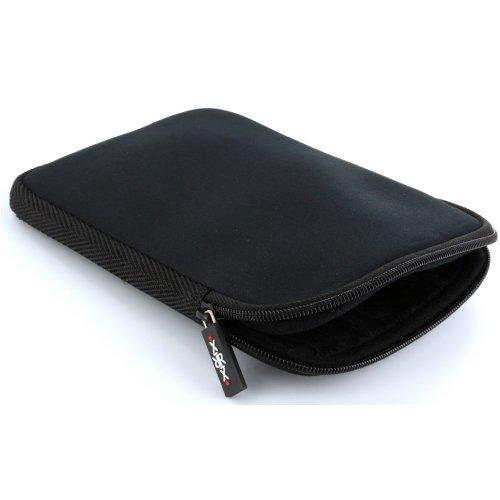 XiRRiX eBook Reader Tasche aus Neopren mit Reißverschluss - Größe 6 Zoll (15,24cm) passend für Tolino eReader Modelle - Hülle in schwarz
