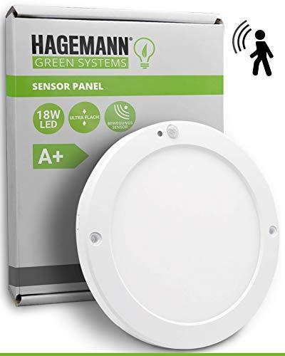 HAGEMANN® LED Deckenleuchte mit Bewegungsmelder innen 18 Watt rund 1500lm – Ø 22cm Durchmesser – 230V LED Lampe mit Bewegungsmelder innen