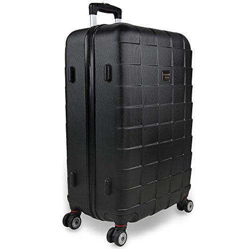 Monzana 3er Kofferset Hartschalenkoffer Reisekofferset Koffer Trolley gummierte Zwillingsrolle ABS-Schale Alu-Teleskopgriff schwarz