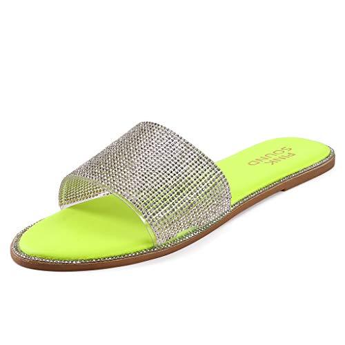 ITISME Pantofole Romano da Donna Cristallo Sandali Diamanti Sandali Punta Aperta Piatti Europei Americani Ciabatte Antiscivolo Scarpe Estive Interni Esterni